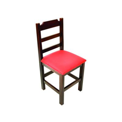 Cadeira Paulista De Madeira Com Estofado Vermelho Encosto Anatomico - Imbuia