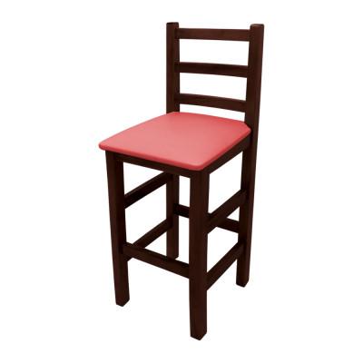 Banqueta Alta Com Assento Estofado Vermelho Encosto Curvo - Imbuia