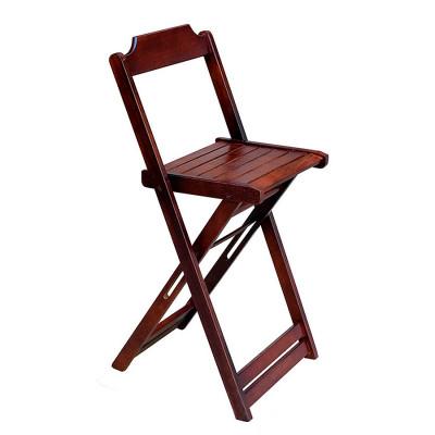 Cadeira Bistro Alta Dobravel De Madeira - Imbuia