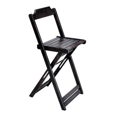Cadeira Bistro Alta Dobravel De Madeira - Preto