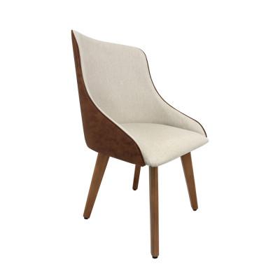 Cadeira Estofada Catânia Moderna Premium Em Couro Sintético E Tecido