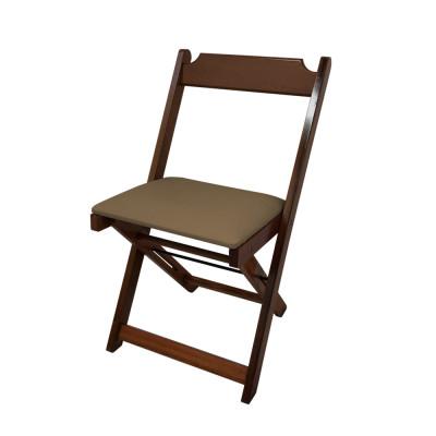 Cadeira Dobravel De Madeira Estofada Marron - Imbuia