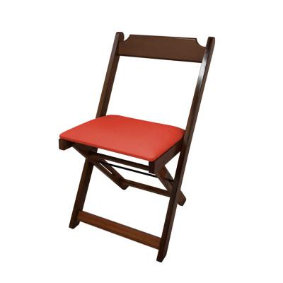 Cadeira Dobravel De Madeira Estofada Vermelho  - Imbuia