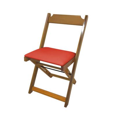 Cadeira Dobravel De Madeira Estofada Vermelho - Natural