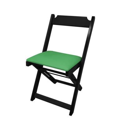 Cadeira Dobravel De Madeira Estofada Verde - Preto