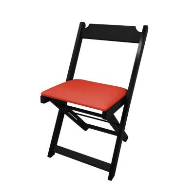 Cadeira Dobravel De Madeira Estofada Vermelho - Preto
