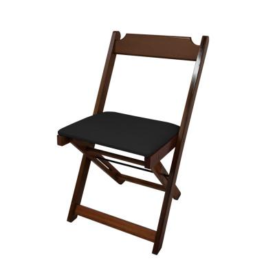 Cadeira Dobravel De Madeira Estofada Preto - Imbuia