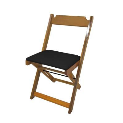 Cadeira Dobravel De Madeira Estofada Preto - Natural