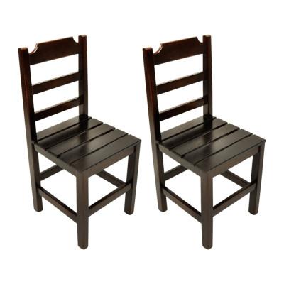Kit 2 Cadeiras Fixa De Madeira Paulista Com Assento Ripado Imbuia