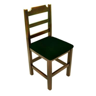 Cadeira Paulista De Madeira Com Estofado Preto Encosto Anatomico - Imbuia