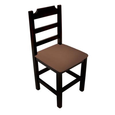 Cadeira Paulista De Madeira Com Estofado Marrom Encosto Anatomico - Preto