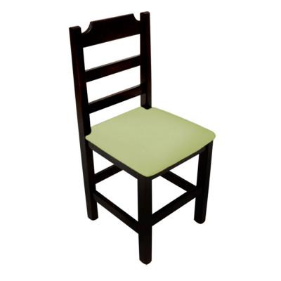 Cadeira Fixa De Madeira Paulista Com Assento Estofado Verde - Preto