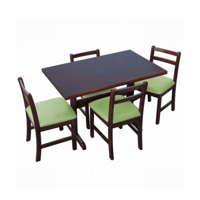 Jogo De Mesa De Madeira Fixo Floripa 1,20x70 Imbuia Pé H Com 4 Cadeiras Estofado Verde