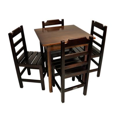 Conjunto De Mesa De Madeira Fixo Paulista 80x80 Com 4 Cadeiras Imbuia