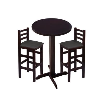 Jogo De Mesa De Madeira Fixo Bistro Imbuia Com 2 Cadeiras Encosto Anatomico Estofado Preto