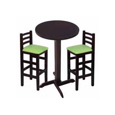 Jogo De Mesa De Madeira Fixo Bistro Imbuia Com 2 Cadeiras Encosto Anatomico Estofado Verde