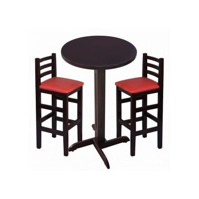 Conjunto De Mesa De Madeira Fixo Bistro Imbuia Com 2 Cadeiras Encosto Anatomico Estofado Vermelho