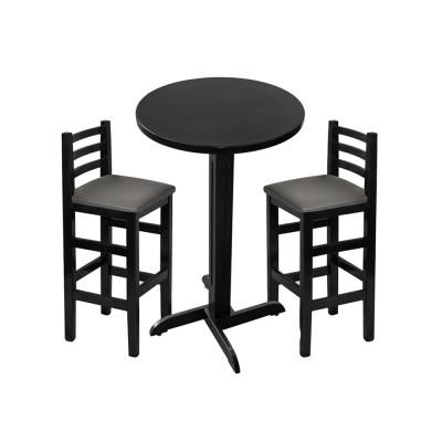 Jogo De Mesa De Madeira Fixo Bistro Preto Com 2 Cadeiras Encosto Anatomico Estofado Preto