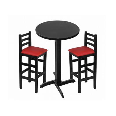 Jogo De Mesa De Madeira Fixo Bistro Preto Com 2 Cadeiras Encosto Anatomico Estofado Vermelho