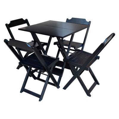 Conjunto De Mesa Dobravel De Madeira 70x70 Com 4 Cadeiras Preto