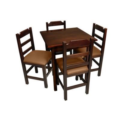 Conjunto De Mesa De Madeira Fixo Paulista 70x70 Imbuia Com 4 Cadeiras Estofado Marrom