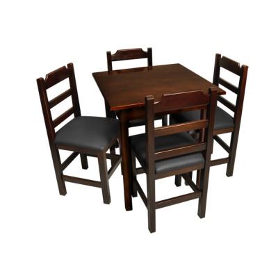 Jogo De Mesa De Madeira Fixo Paulista 80x80 Imbuia Com 4 Cadeiras Estofado Preto