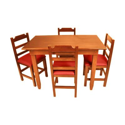 Conjunto De Mesa De Madeira Fixo Paulista 120x70 Natural Com 4 Cadeiras Estofado Vermelho