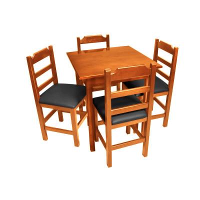Conjunto De Mesa De Madeira Fixo Paulista 80x80 Natural Com 4 Cadeiras Estofado Preto