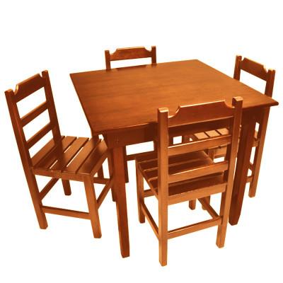 Jogo De Mesa De Madeira Fixo Paulista 70x70 Com 4 Cadeiras Natural