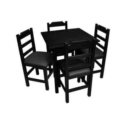 Conjunto De Mesa De Madeira Fixo Paulista 80x80 Preto Com 4 Cadeiras Estofado Preto