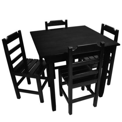 Jogo De Mesa De Madeira Fixo Paulista 70x70 Com 4 Cadeiras Preto