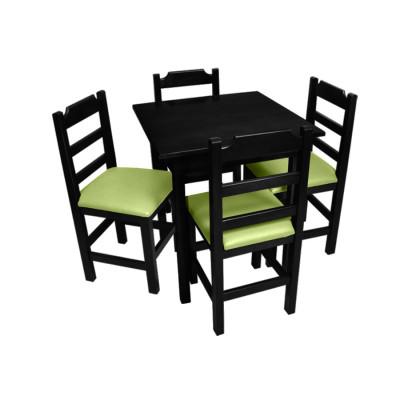 Conjunto De Mesa De Madeira Fixo Paulista 70x70 Preto Com 4 Cadeiras Estofado Verde