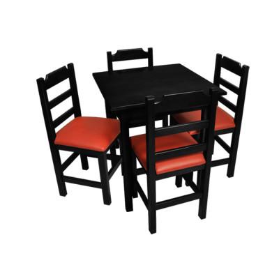 Jogo De Mesa De Madeira Fixo Paulista 80x80 Preto Com 4 Cadeiras Estofado Vermelho