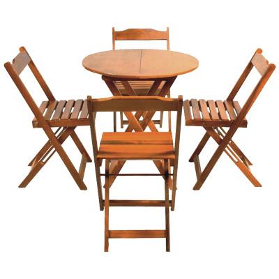 Conjunto De Mesa Dobravel De Madeira 70cm Redondo Com 4 Cadeiras Natural
