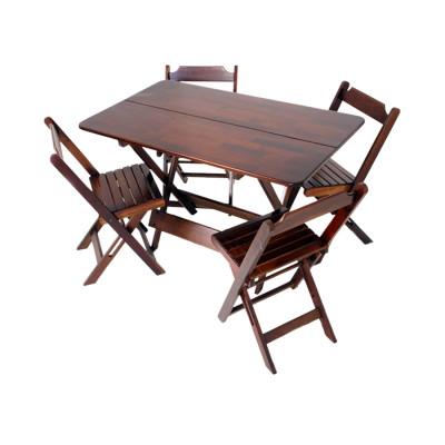 Conjunto De Mesa Dobravel De Madeira 1,20x70 Com 4 Cadeiras Imbuia