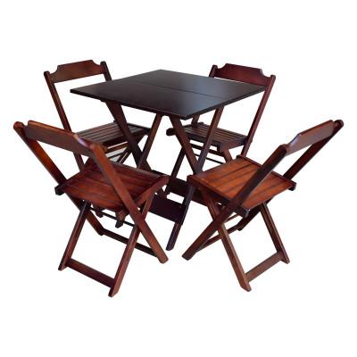 Jogo De Mesa Dobravel De Madeira 90x90 Com 4 Cadeiras Imbuia