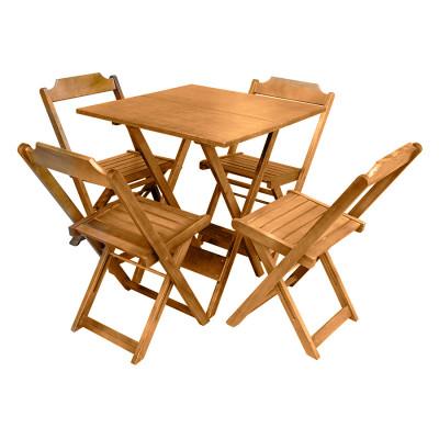Conjunto De Mesa Dobravel De Madeira 70x70 Com 4 Cadeiras Natural