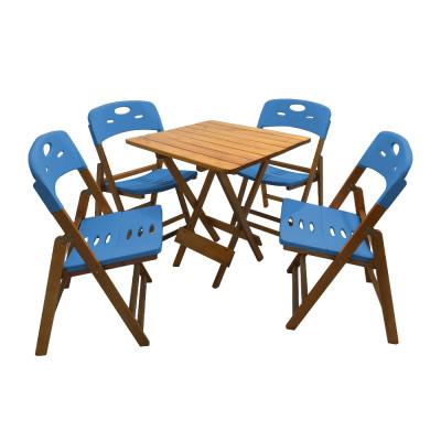 Conjunto De Mesa Dobravel De Madeira 70x70 Elegance Com 4 Cadeiras Mel Polipropileno Azul
