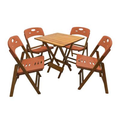 Jogo De Mesa Dobravel De Madeira 70x70 Elegance Com 4 Cadeiras Mel Polipropileno Laranja