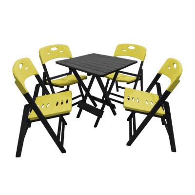Conjunto De Mesa Dobravel De Madeira 70x70 Elegance Com 4 Cadeiras Preto Polipropileno Amarelo