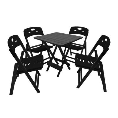 Jogo De Mesa Dobravel De Madeira 70x70 Elegance Com 4 Cadeiras Preto Polipropileno Preto
