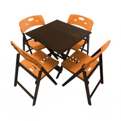 Conjunto De Mesa Dobravel De Madeira 70x70 Elegance Com 4 Cadeiras Imbuia Polipropileno Laranja