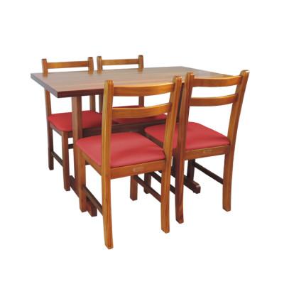 Conjunto De Mesa De Madeira Fixo Floripa 1,20x70 Natural Pé H Com 4 Cadeiras Estofado Vermelho