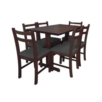 Jogo De Mesa De Madeira Fixo Floripa 1,20x70 Imbuia Pé H Com 6 Cadeiras Estofado Preto