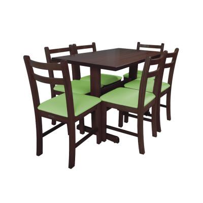 Jogo De Mesa De Madeira Fixo Floripa 1,20x70 Imbuia Pé H Com 6 Cadeiras Estofado Verde