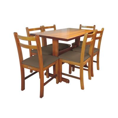 Conjunto De Mesa De Madeira Fixo Floripa 1,20x70 Natural Pé H Com 6 Cadeiras Estofado Marrom