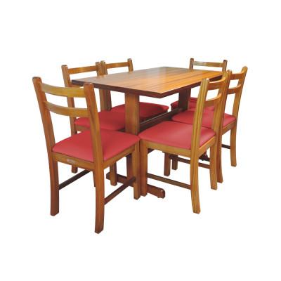 Jogo De Mesa De Madeira Fixo Floripa 1,20x70 Natural Pé H Com 6 Cadeiras Estofado Vermelho