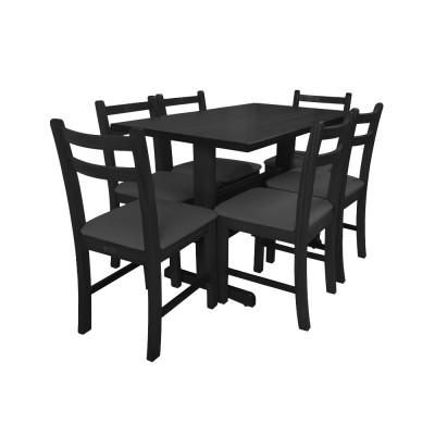 Conjunto De Mesa De Madeira Fixo Floripa 1,20x70 Preto Pé H Com 6 Cadeiras Estofado Preto