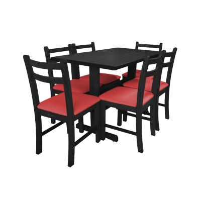Jogo De Mesa De Madeira Fixo Floripa 1,20x70 Preto Pé H Com 6 Cadeiras Estofado Vermelho