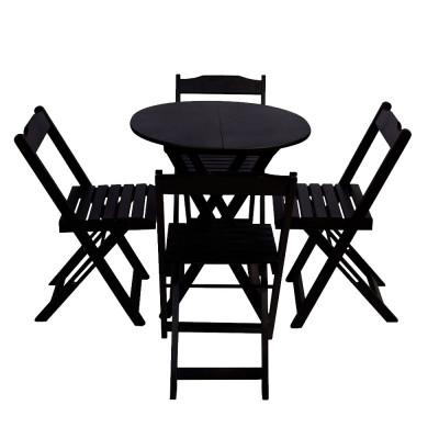 Conjunto De Mesa Dobravel De Madeira 90cm Redondo Com 4 Cadeiras Preto